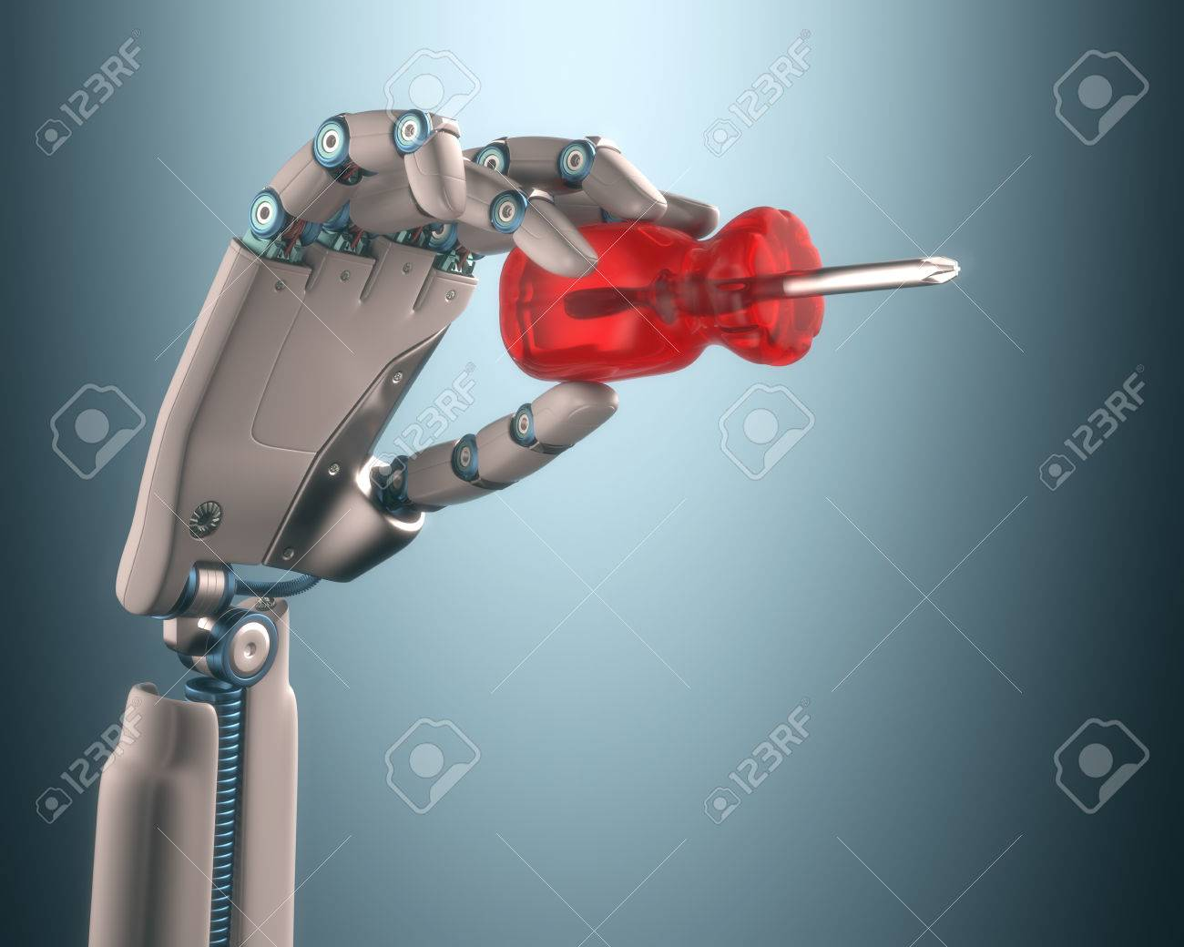 Robot hand holding a screwdriver on the concept of industrial automation. - 32882540