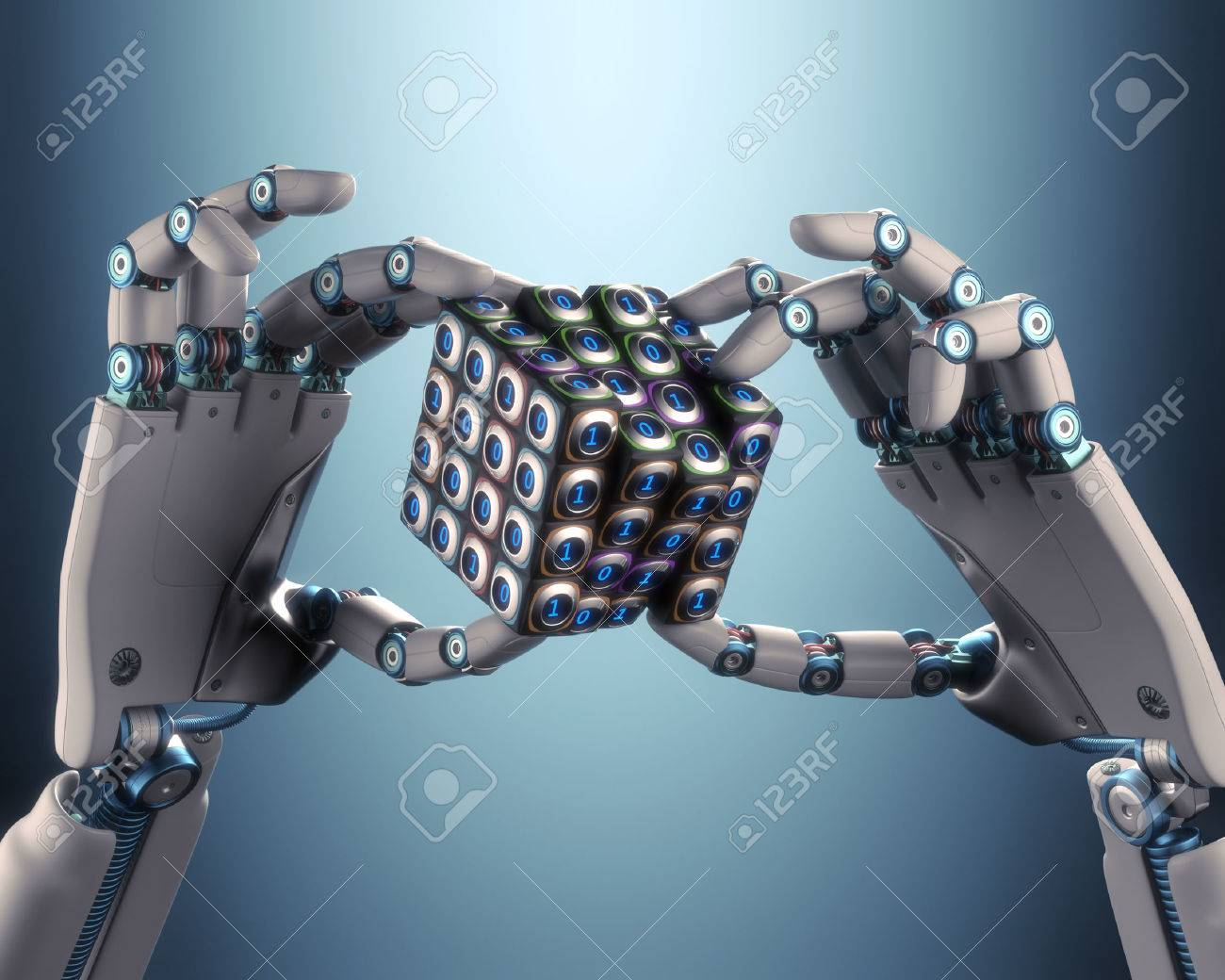 Robot hand holding a binary cube concept of logical processing. Clipping path included. - 32938062