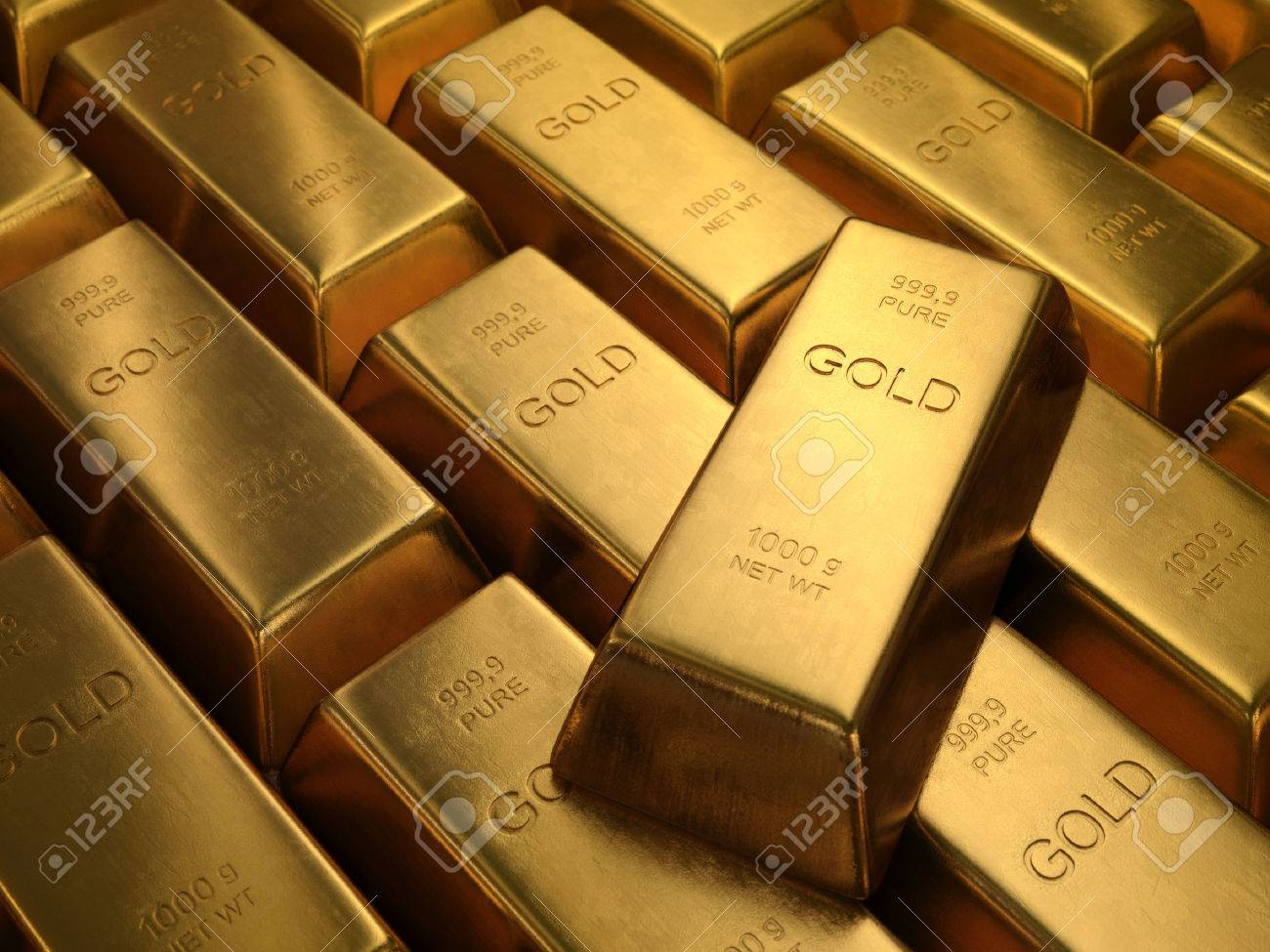 Gold Bars 1000 grams. Depth of field on the gold word. - 33263786