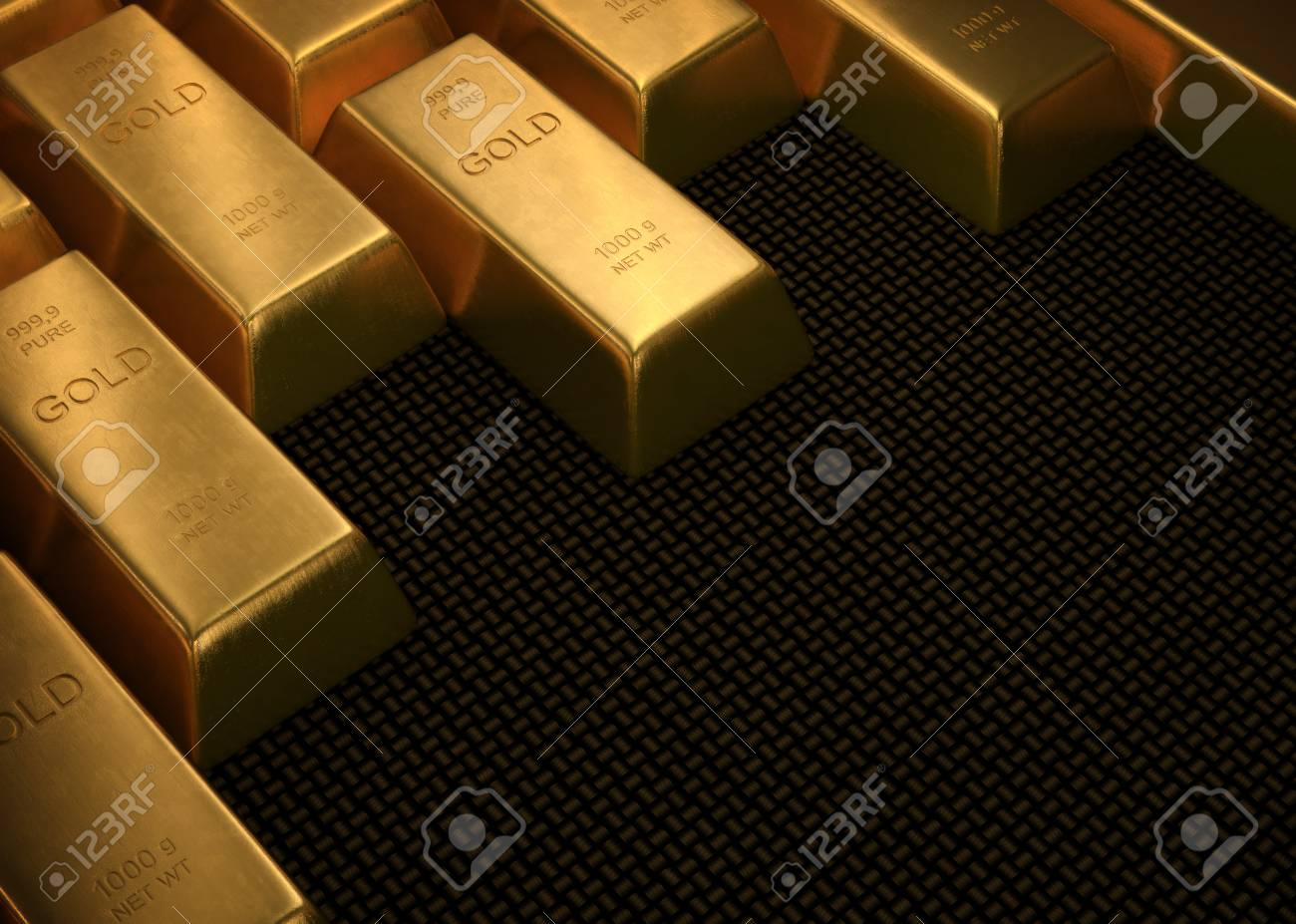 Gold bars on black surface. Your text in space without gold. - 33263791