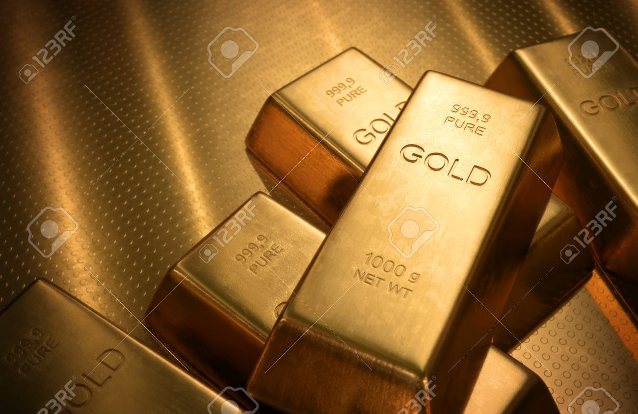 Gold Bars 1000 grams. Depth of field on the gold word. - 33459317