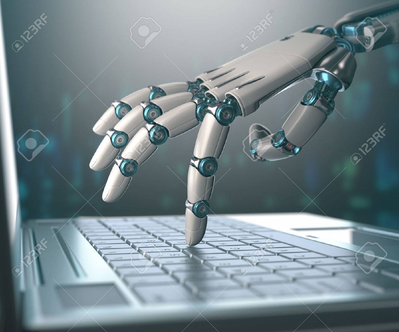 Robotic hand, accessing on laptop, the virtual world of information. Concept of artificial intelligence and replacement of humans by machines. - 51001614