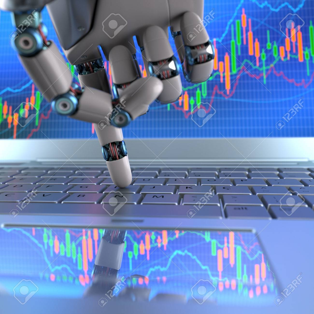 E Trade: Robot Hand, Ordering On A Laptop Keyboard, An Exchange Trade E How  To Buy Stock