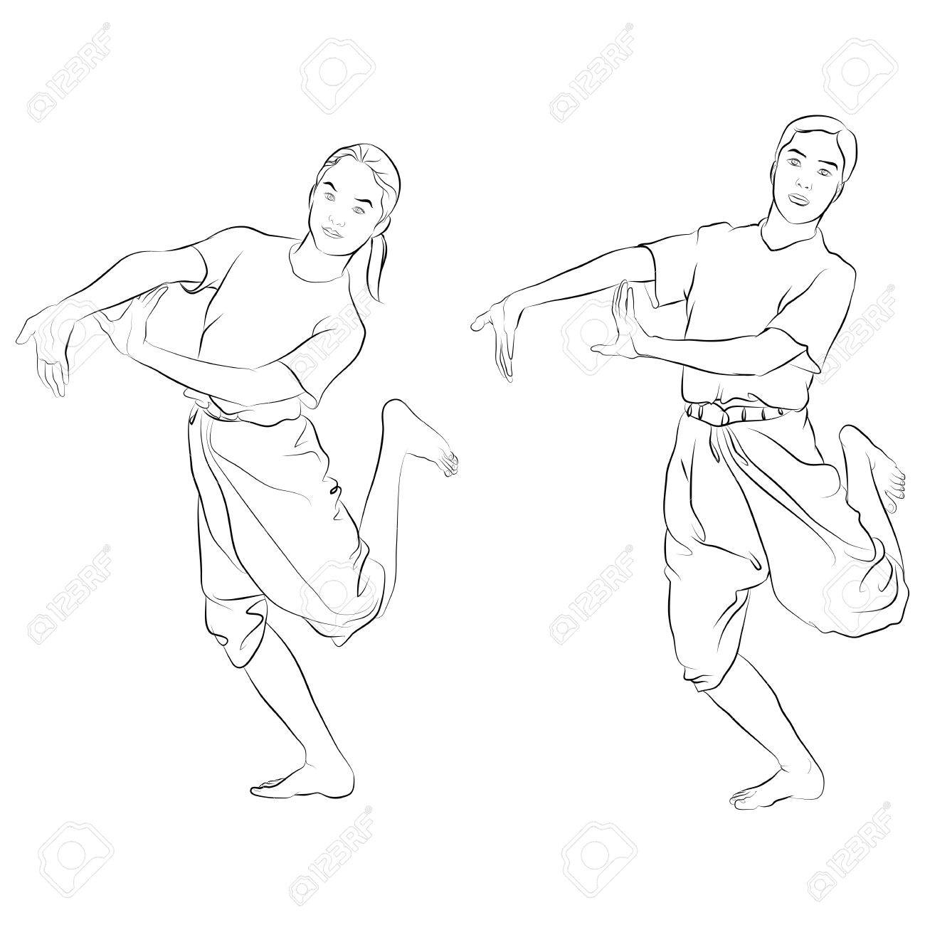 traditional Thai dancer called Dancing - pair or RAM-KOO Body language the art of Thai dance - 15431429