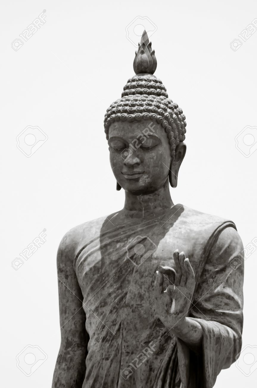 Black and white buddha statue in blessing left hand stock photo 18246727