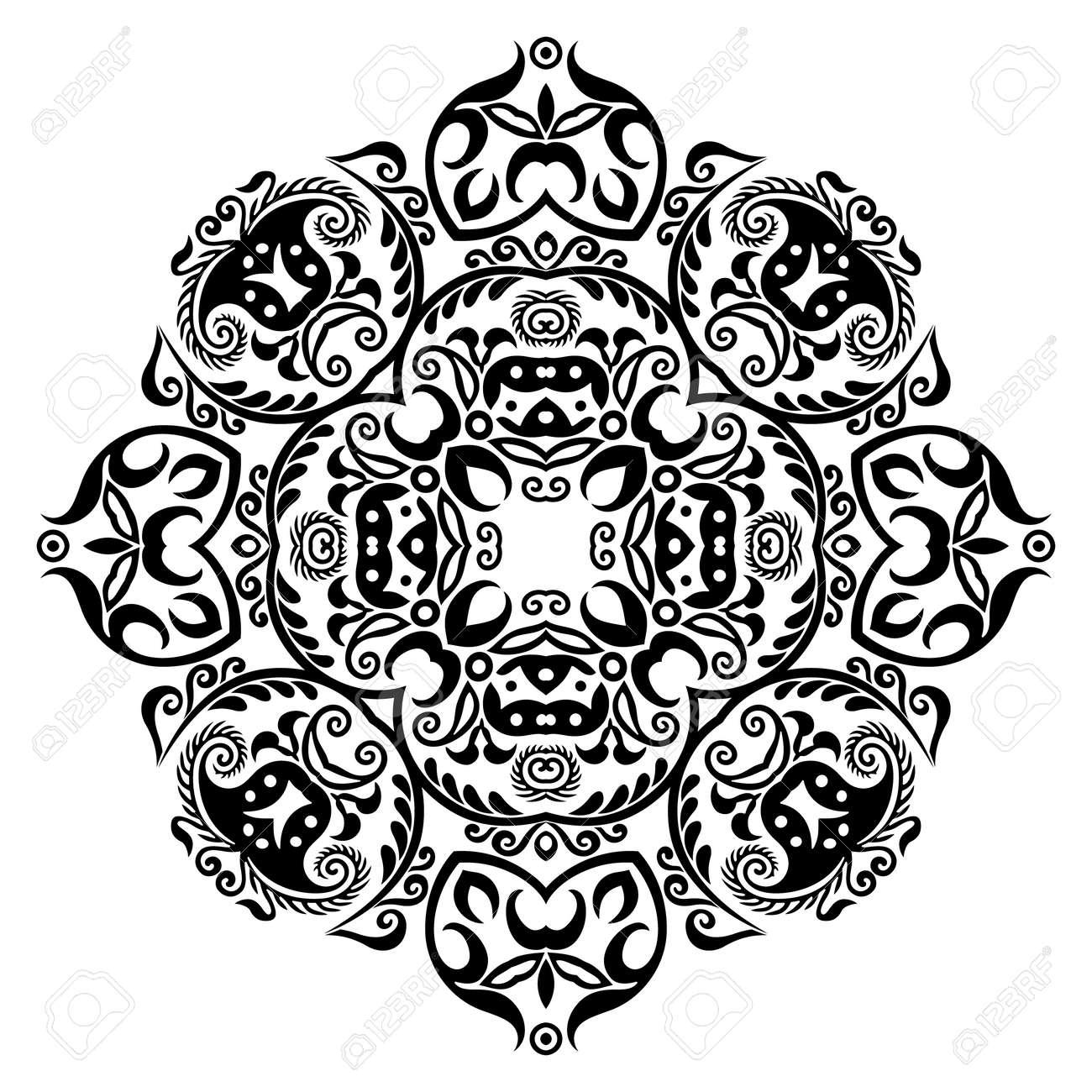 Vector black floral ethnic ornamental illustration - 151695008