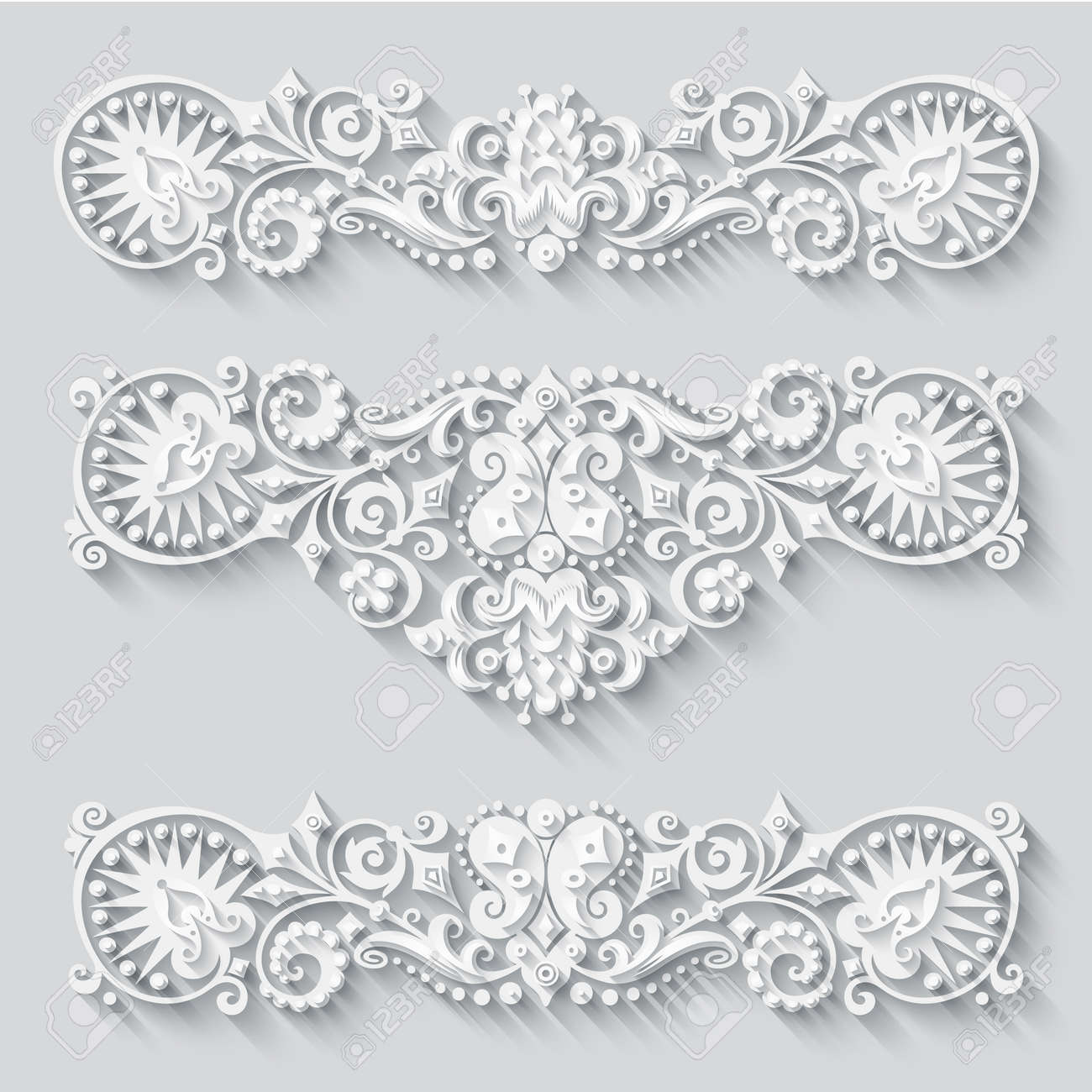 Vector modern volumetric floral elements - 151982731