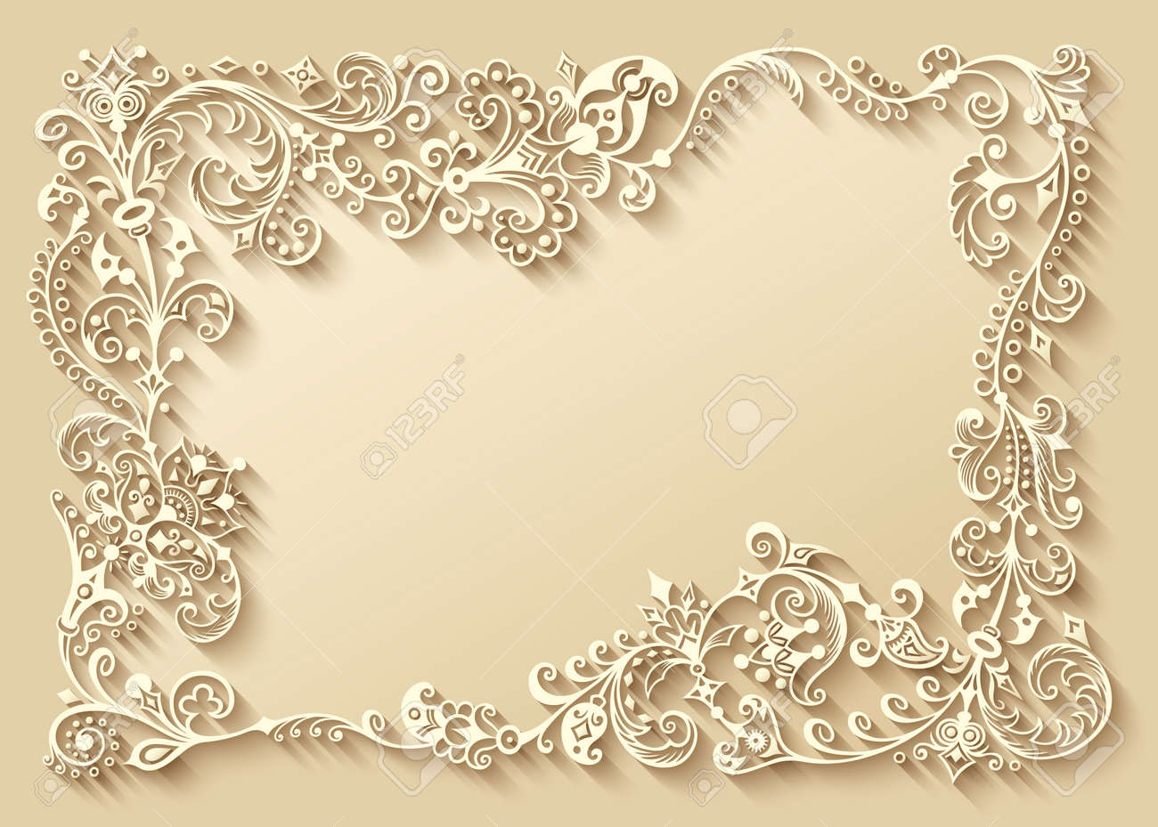 Abstract vector ornamental nature vintage frame. - 152202600