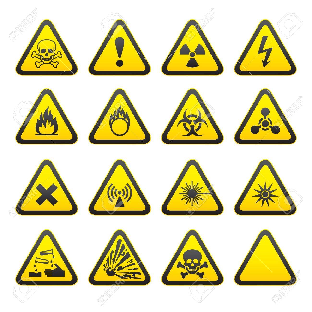 1cb770f3d2ead Conjunto de señales de advertencia de peligro Triangular Foto de archivo -  9120672