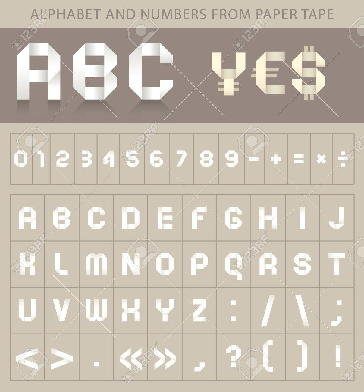 ABC font from paper tape Stock Vector - 9259371