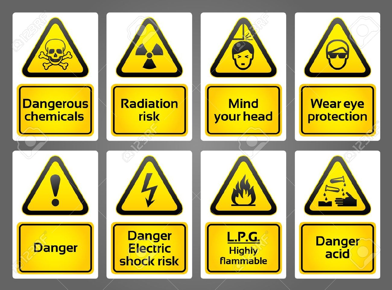 Warning Signs labes Stock Vector - 9548616