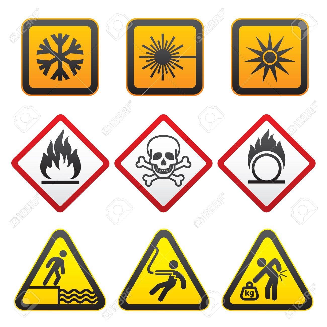 Warning Symbols Hazard Signs Third Set Royalty Free Cliparts