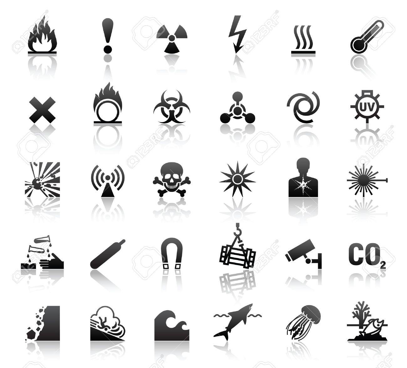 black symbols danger icons Stock Vector - 9611864