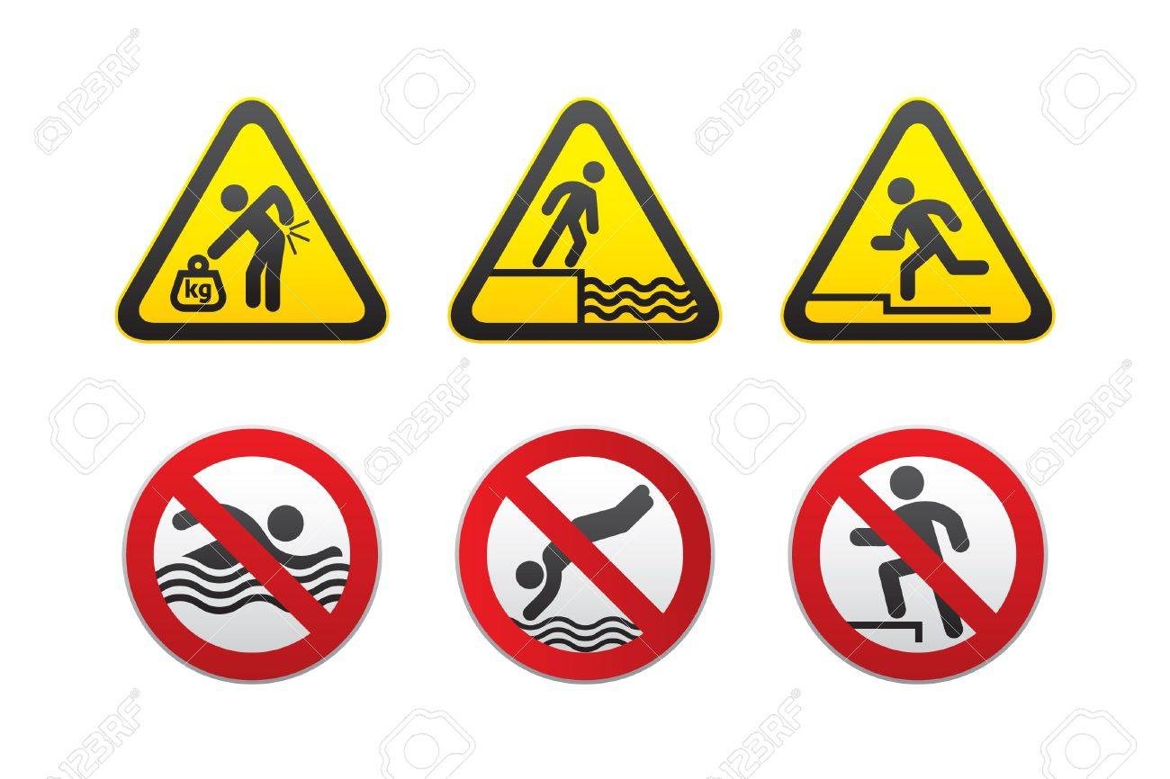 Warning Hazard and Prohibited Signs, vector Stock Vector - 9666948