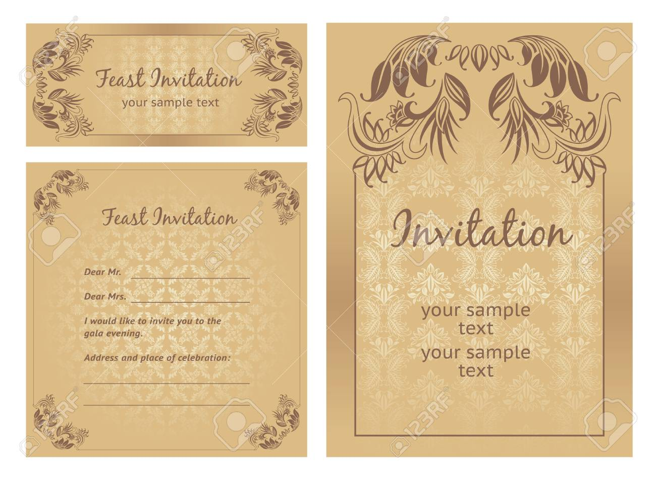 Set of ornate vector template Stock Vector - 9851488