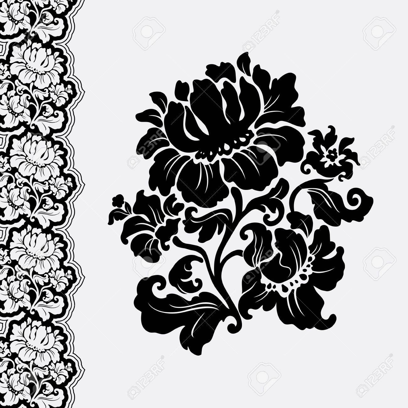 flower and border lace Stock Vector - 10612226