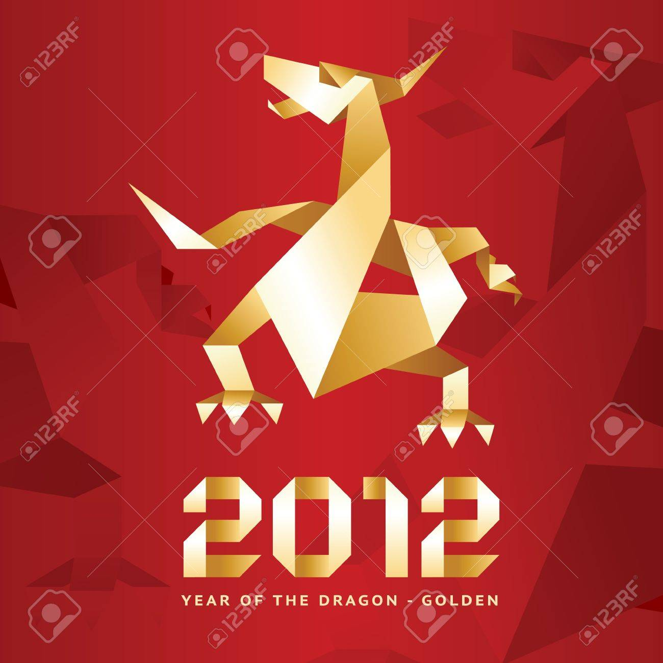 Origami Dragon, 2012 Year - Red Stock Vector - 10673820