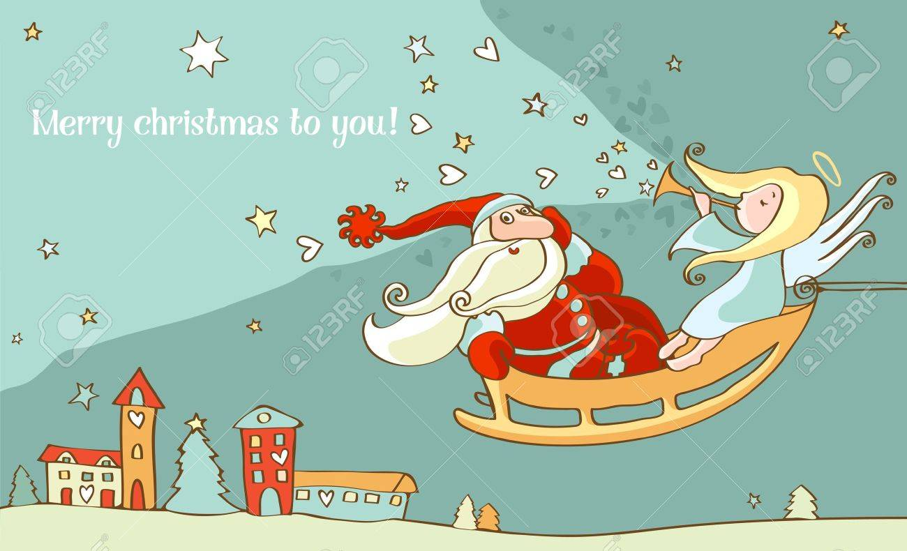 Santa Claus And Christmas Angel In Sleigh. New Year Postcard ...