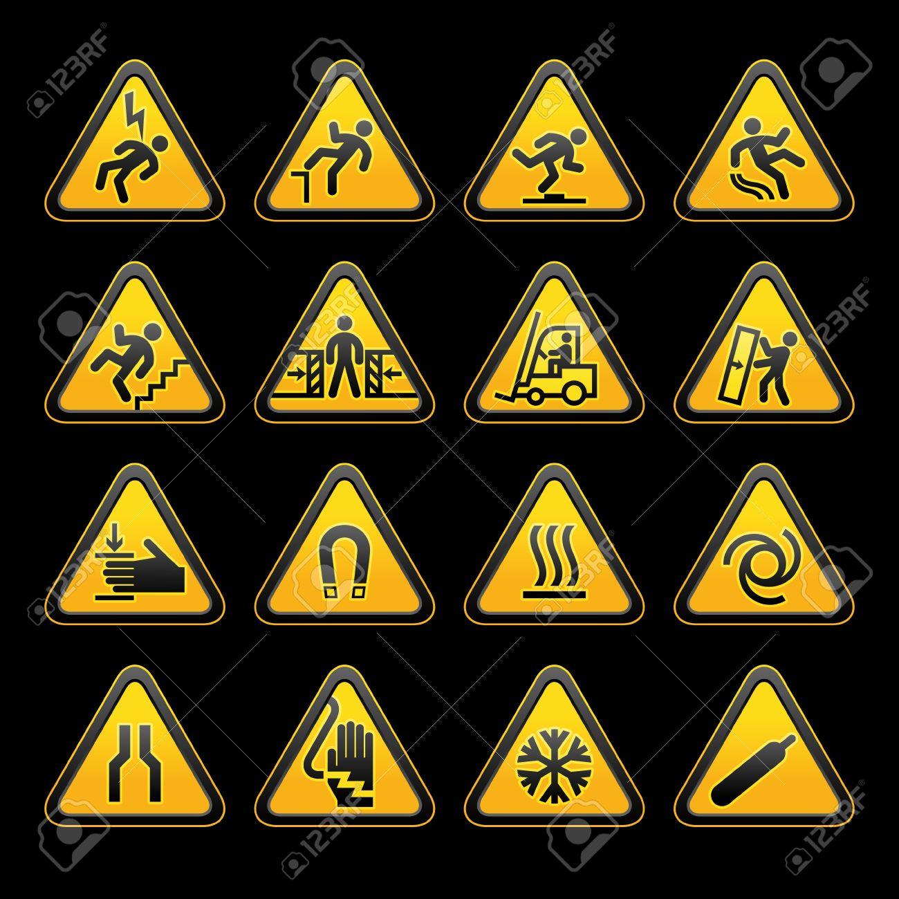 Set simple triangular warning symbols Hazard Signs Stock Vector - 11531567