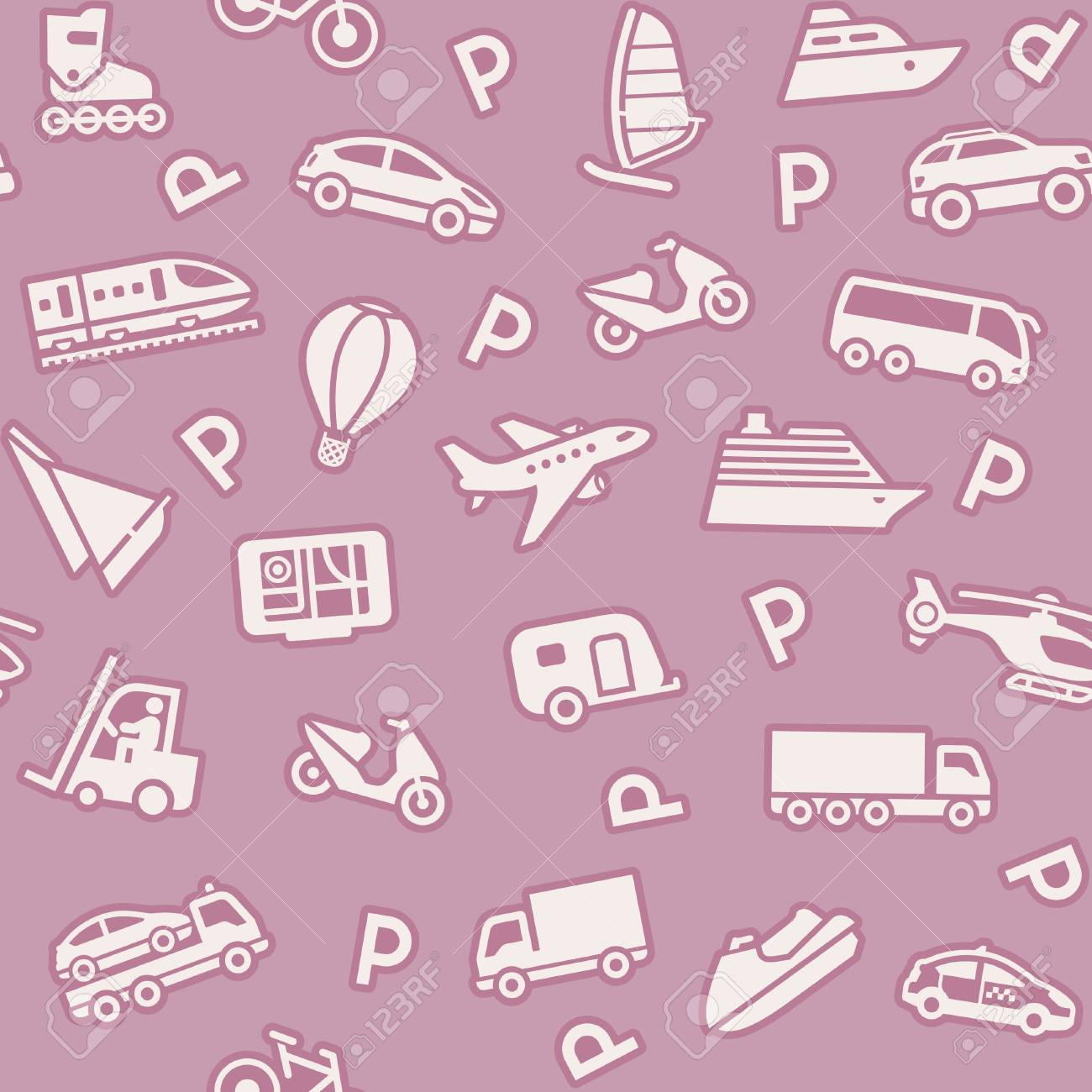 Seamless background, transport icons, wrapping paper Stock Vector - 11662984