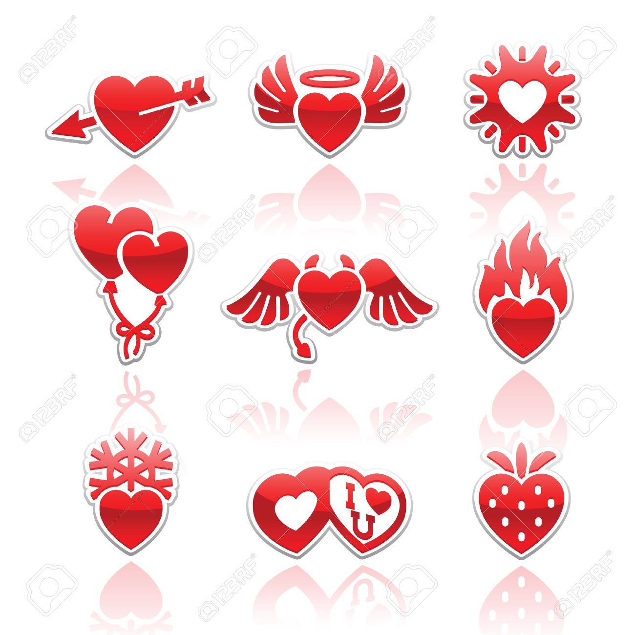 Set Icons Of Valentineu0027s Day Red Hearts Signs Stock Vector   12178570