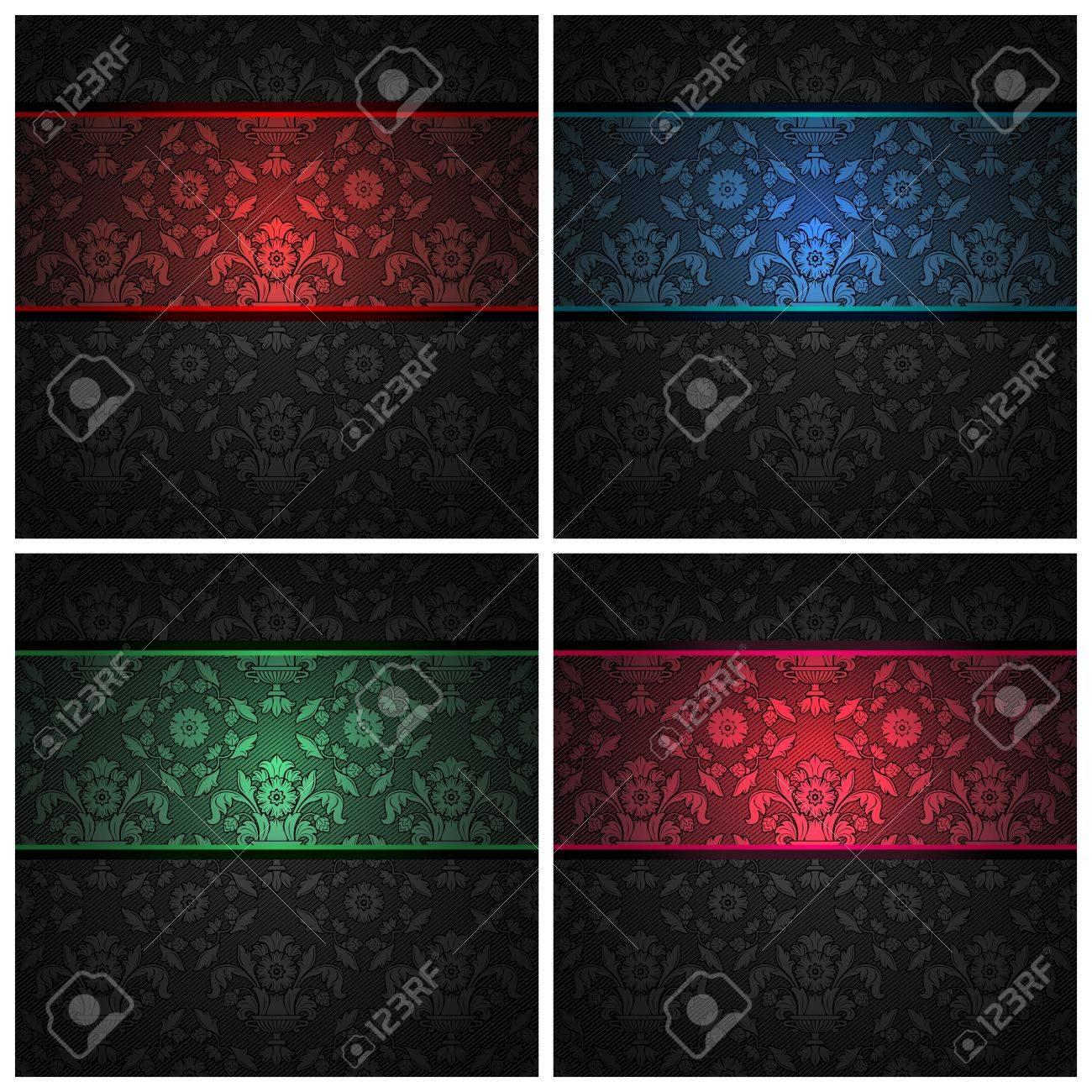 Set ornament template fabric texture - color ribbons. Stock Vector - 12357553
