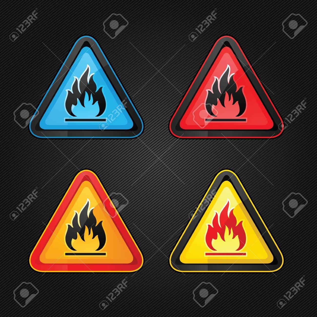 Hazard warning triangle highly flammable warning set symbols Stock Vector - 12802550