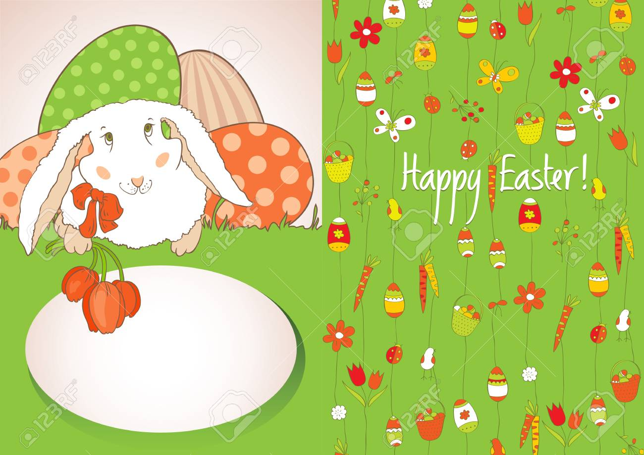 Green card with Easter eggs Stock Vector - 12802659