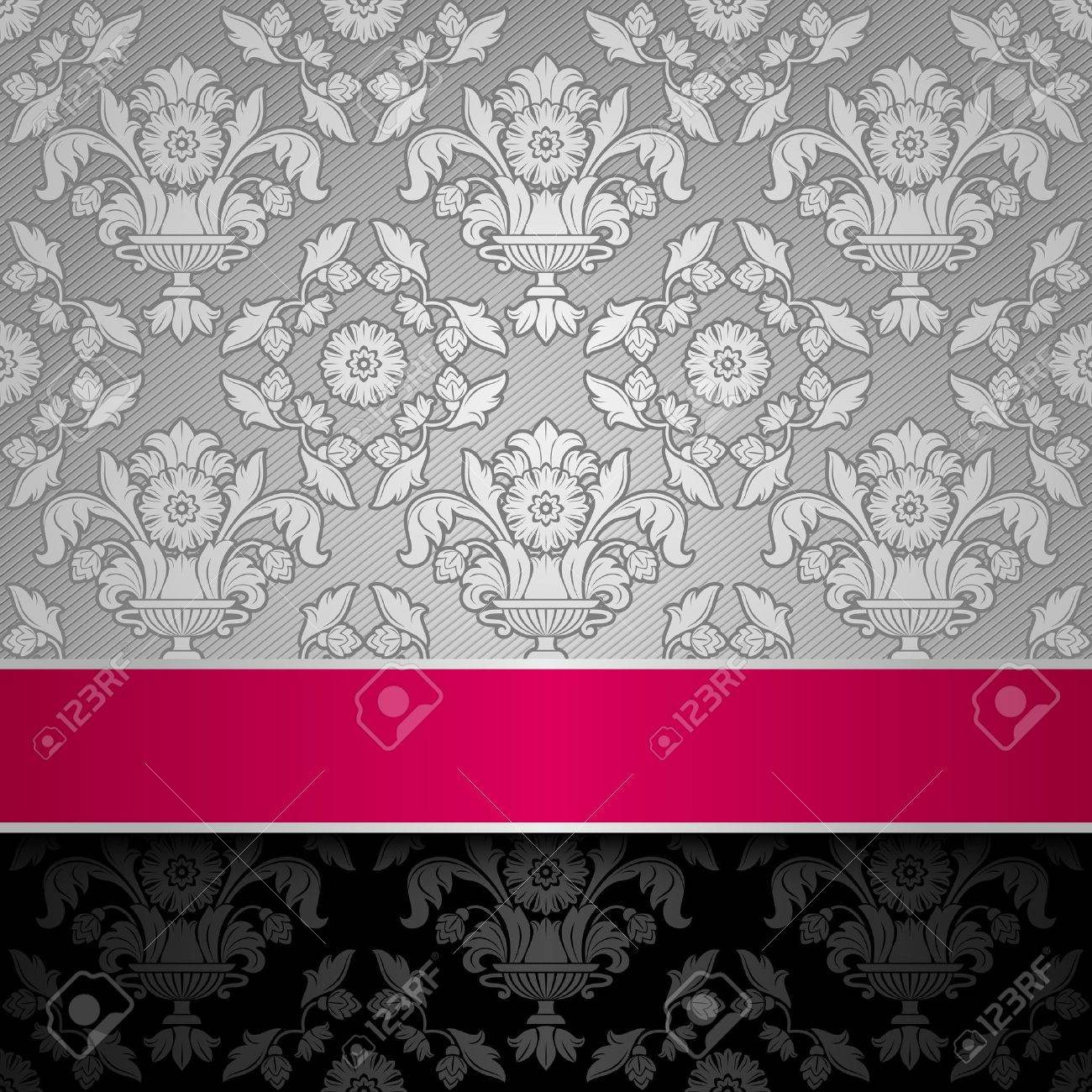 seamless decorative background silver with a pink ribbon Stock Vector - 13091196