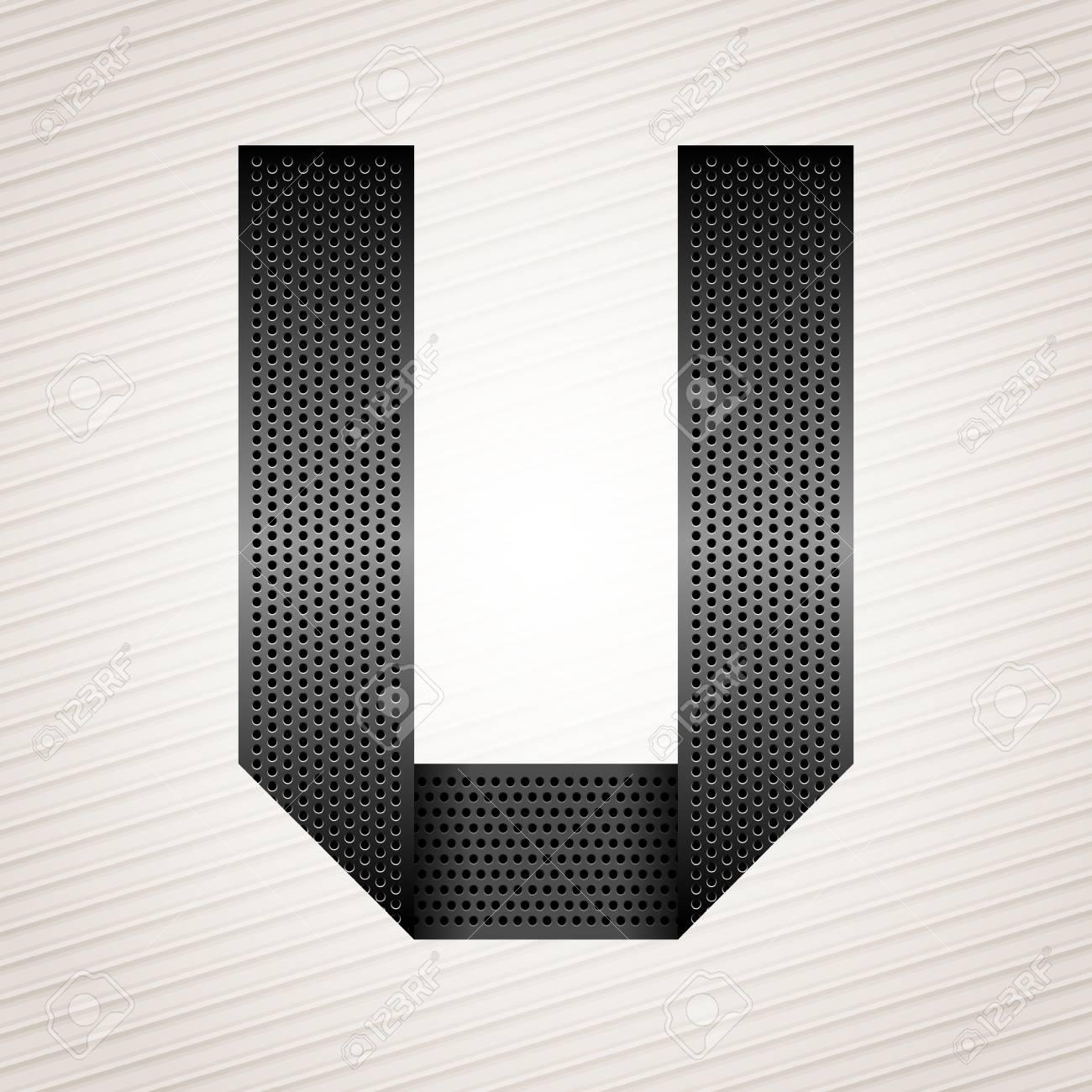 Letter metal ribbon - U Stock Vector - 13290899