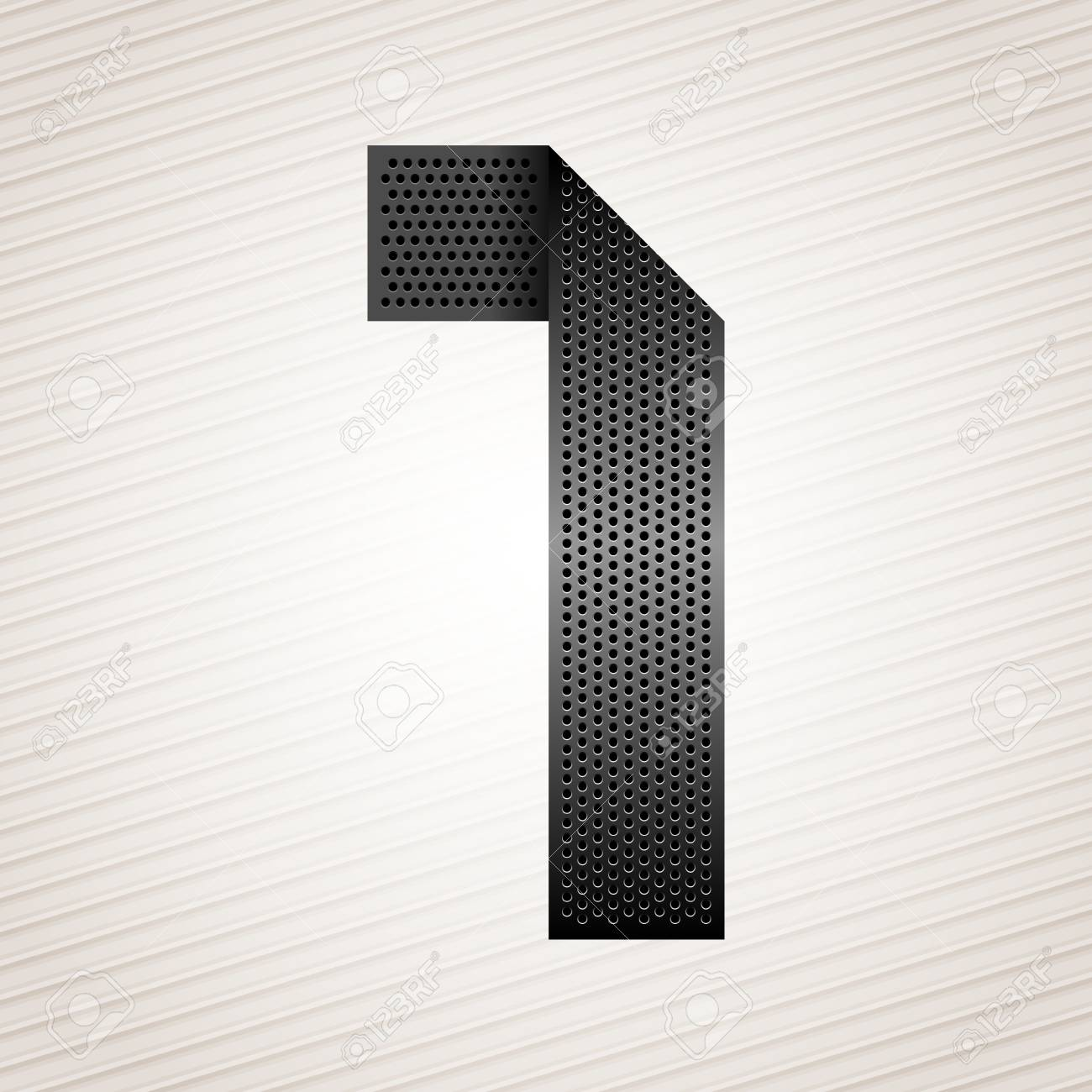 Number metal ribbon - 1 - one Stock Vector - 13326127
