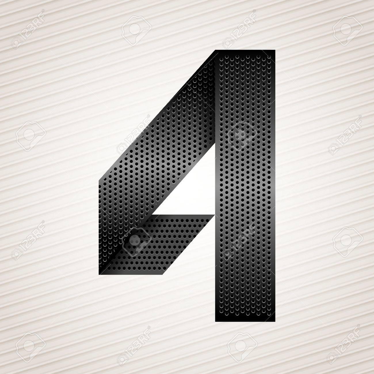 Number metal ribbon - 4 - four Stock Vector - 13326130