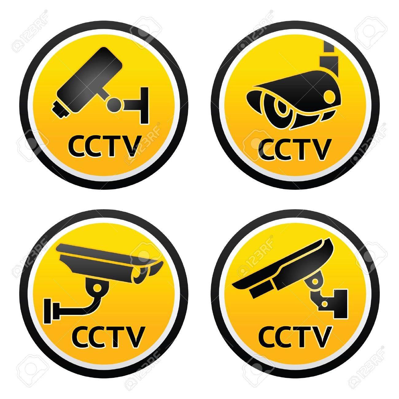 Security camera pictogram, set CCTV signs Stock Vector - 13554143