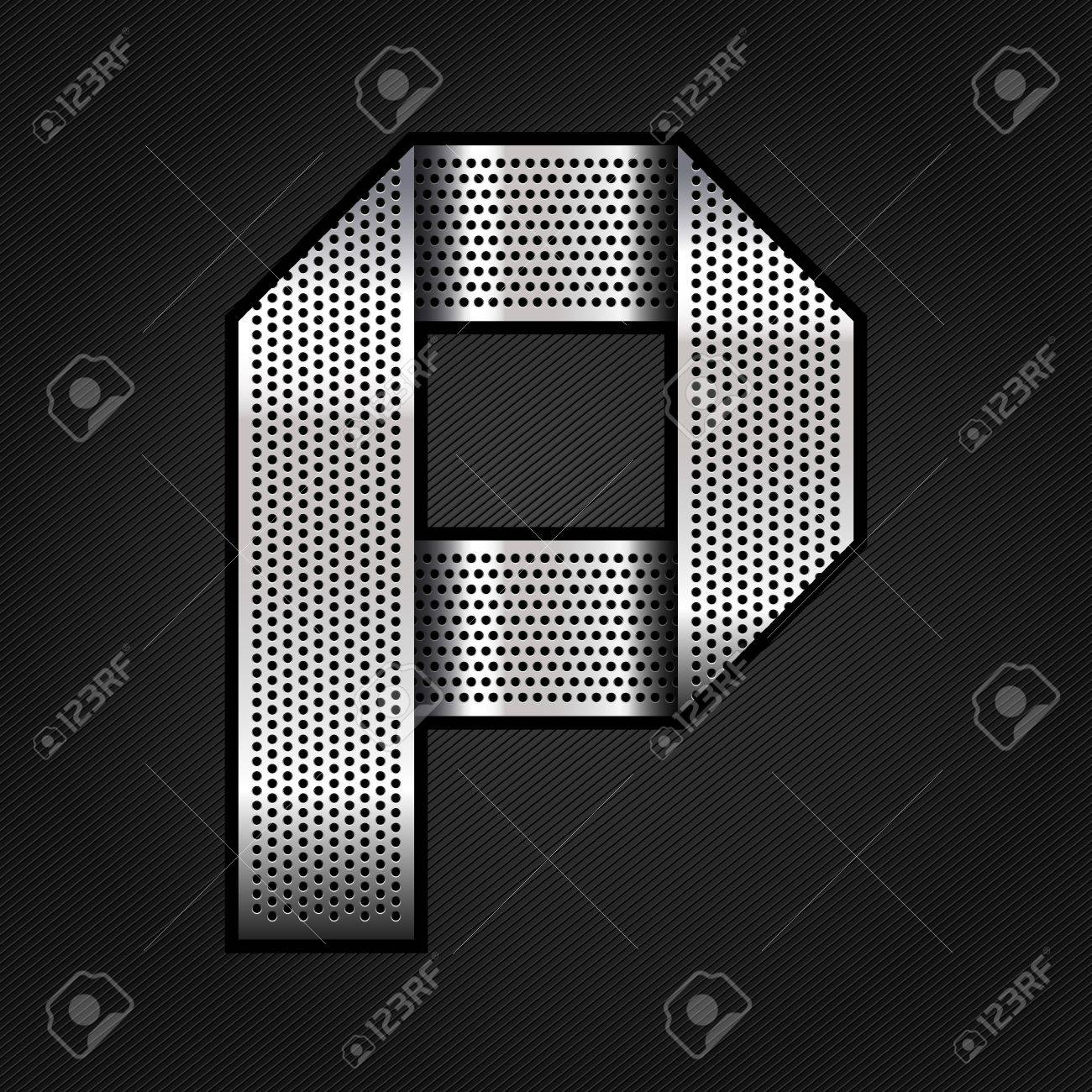 Letter metal chrome ribbon - P Stock Vector - 13823590