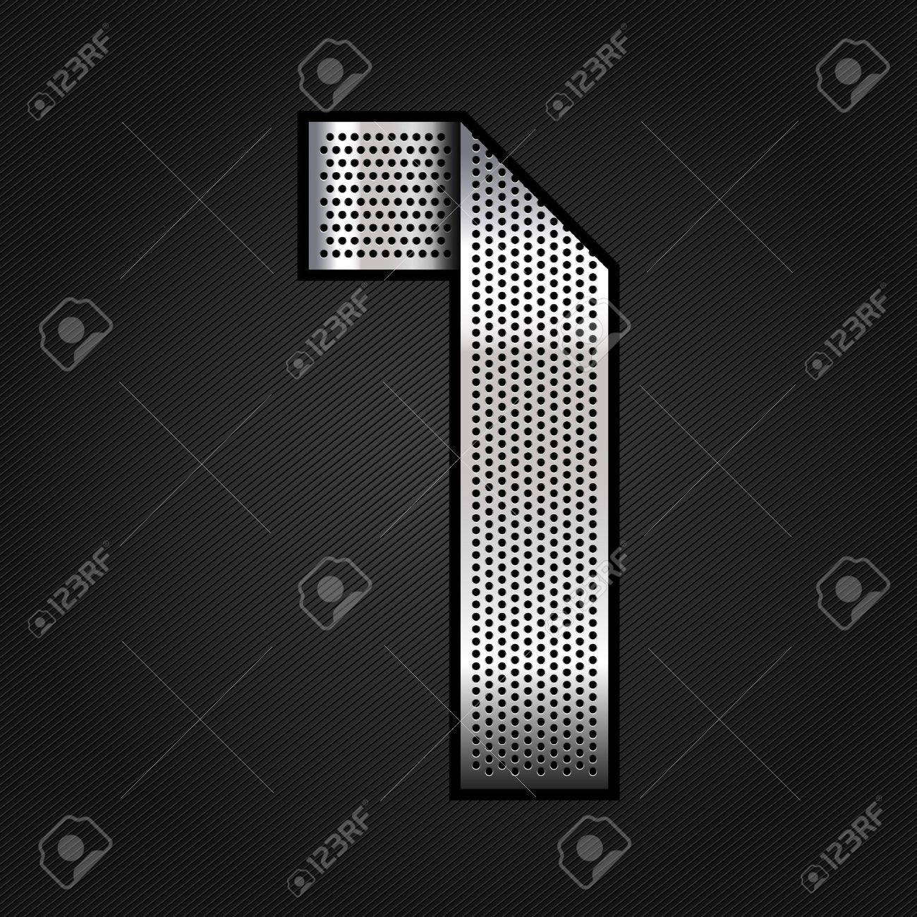 Number metal chrome ribbon - 1 - one Stock Vector - 13823570
