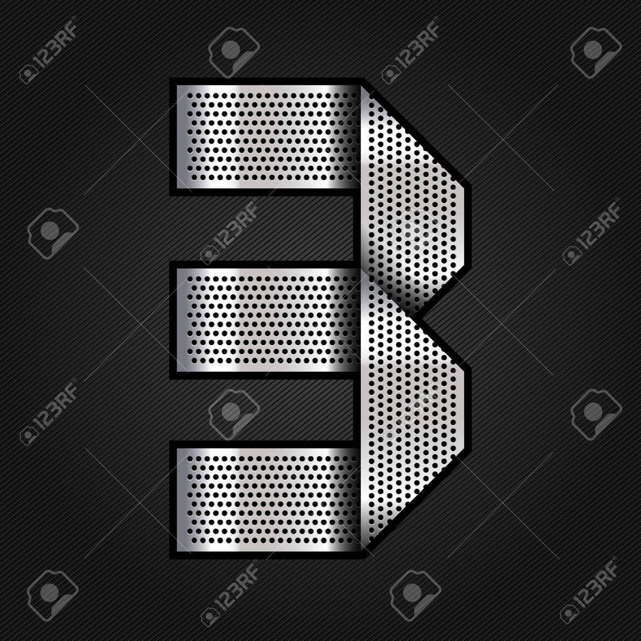 Number metal chrome ribbon - 3 - three Stock Vector - 13823595