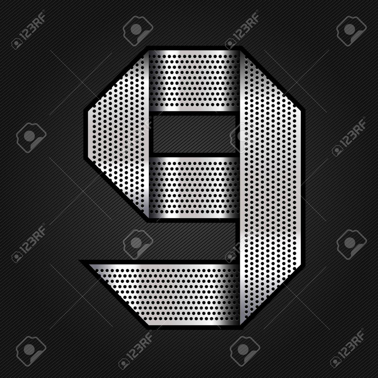 Number metal chrome ribbon - 9 - nine Stock Vector - 13823619