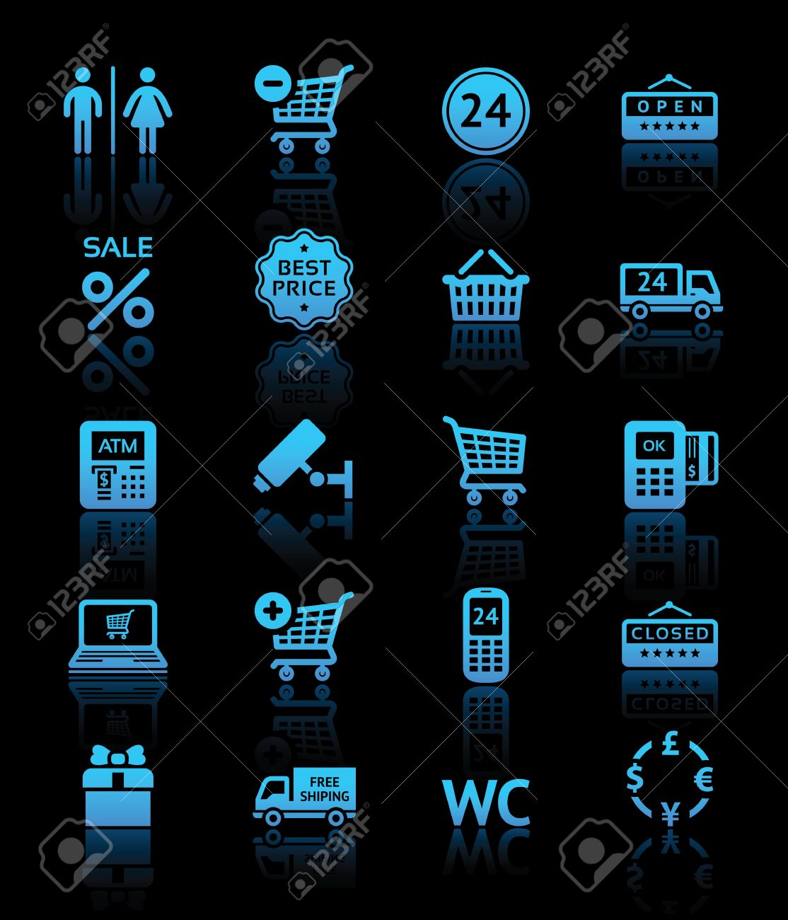 Set pictograms supermarket services, Shopping blue icons Stock Vector - 13959171