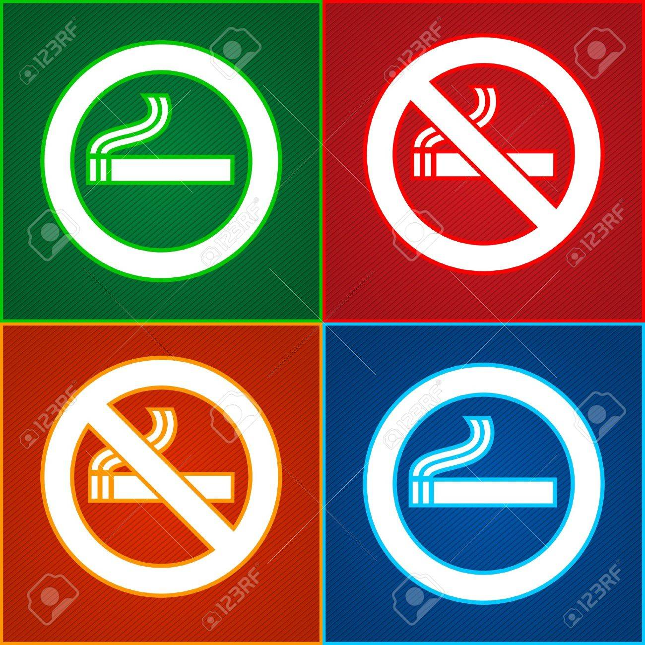 Stickers set - No smoking area labels Stock Vector - 14038003