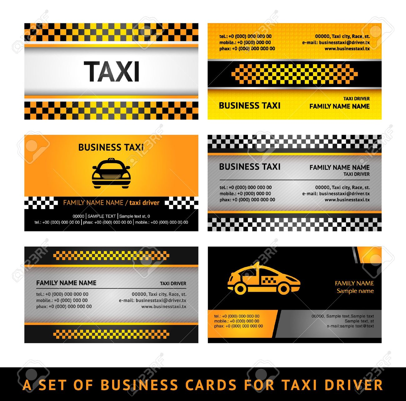 Business Card Taxi - Fourth Set Royalty Free Cliparts, Vectors, And ...