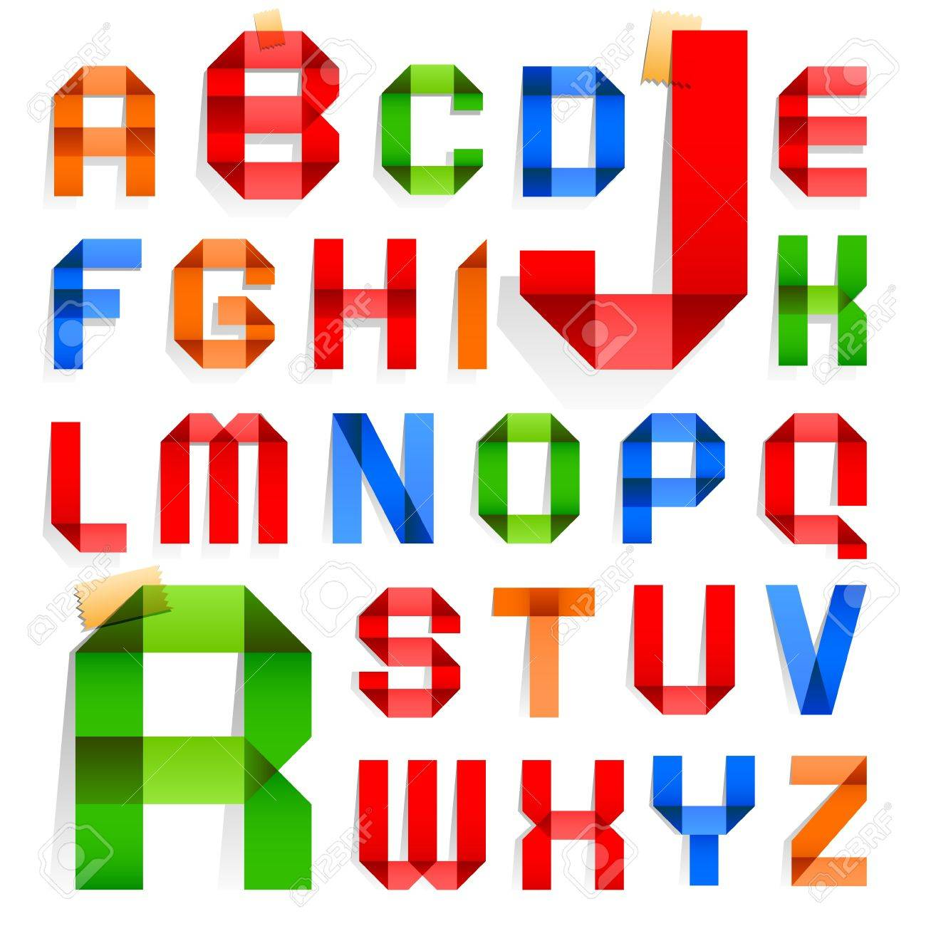 Font folded from colored paper -  Roman alphabet Stock Vector - 15572733