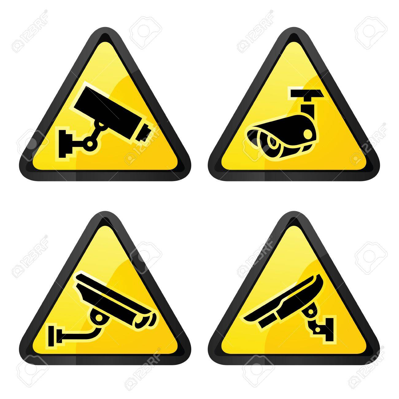CCTV triangular labels, set symbol security camera Stock Vector - 16111102