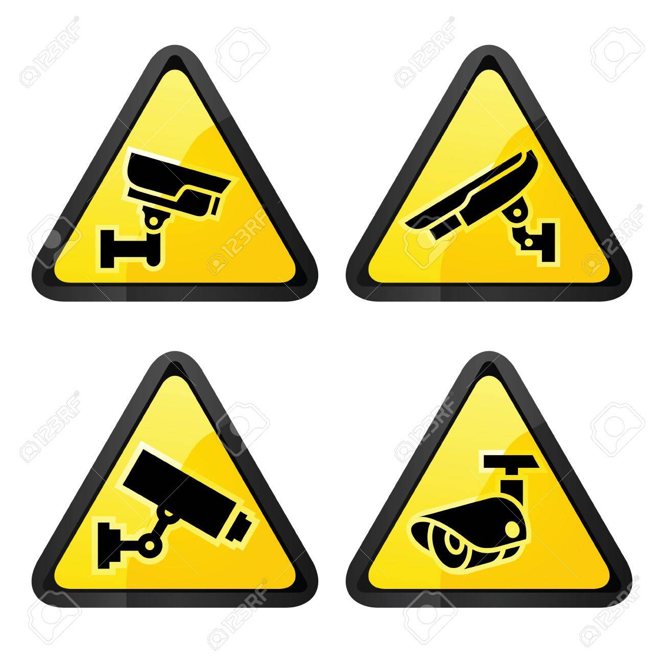 CCTV triangular labels, set symbol video surveillance Stock Vector - 16111101
