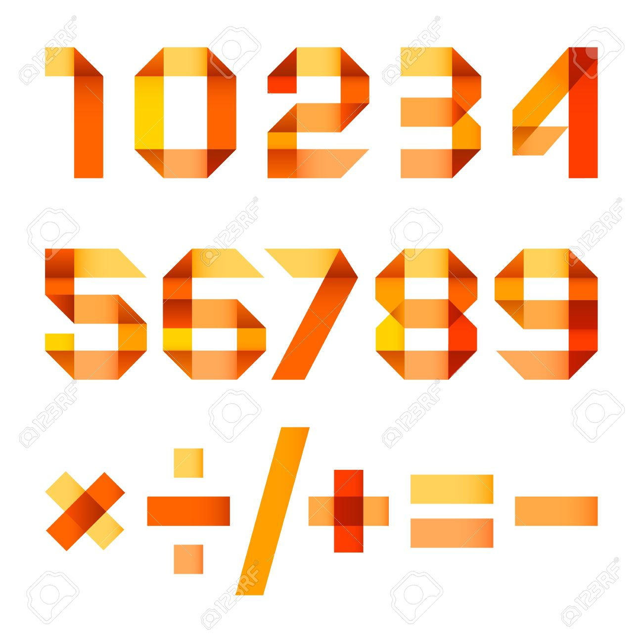 Spectral letters folded of paper orange ribbon - Arabic numerals Stock Vector - 17505107
