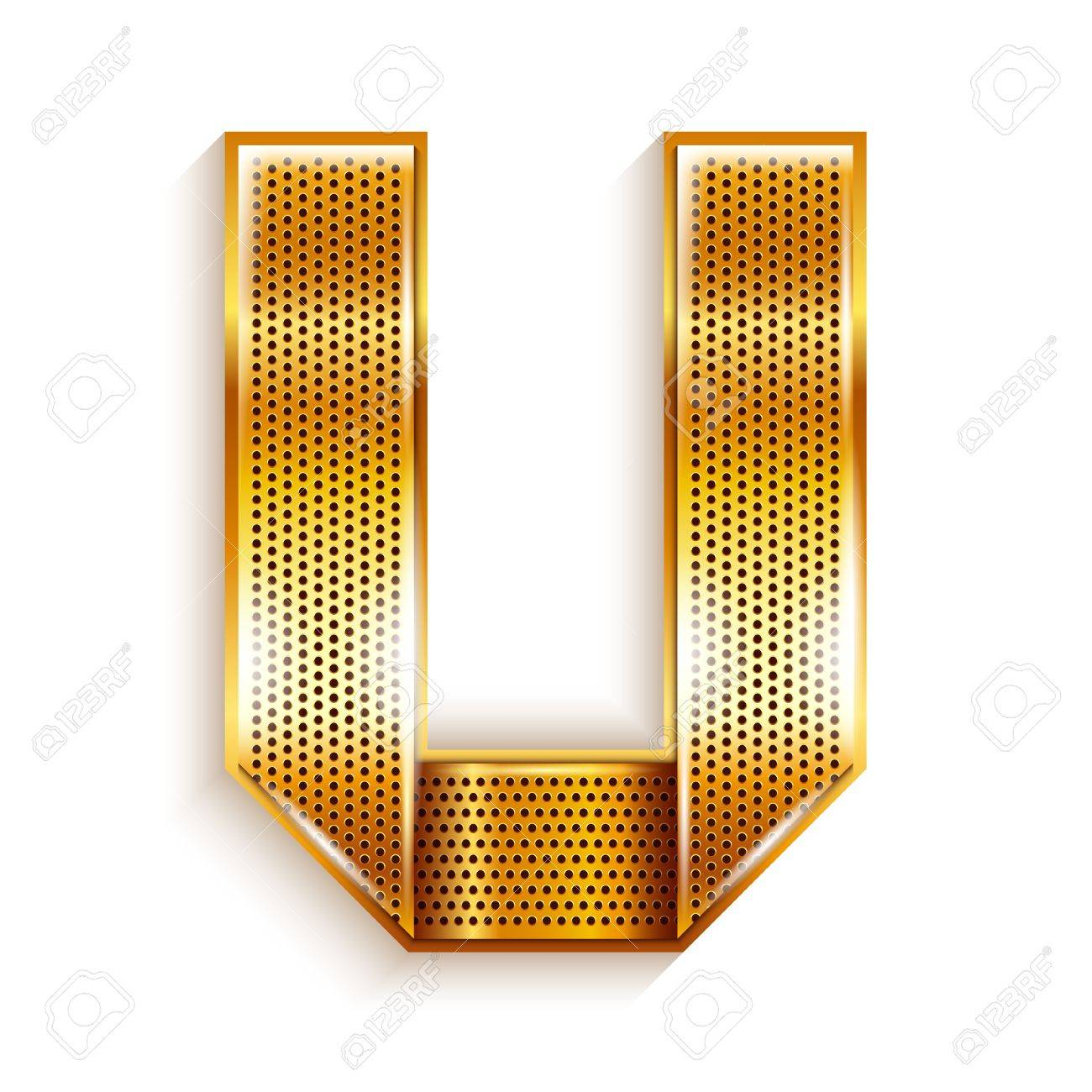 Font folded from a metallic gold perforated ribbon, Letter U, Vector illustration Stock Vector - 17727072