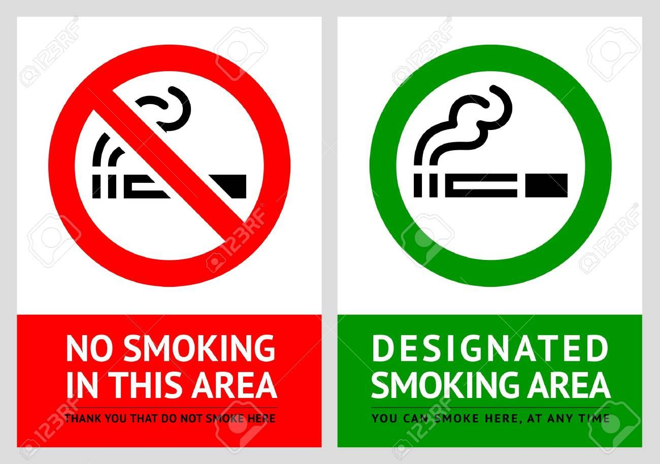 No Smoking And Smoking Area Labels - Set 9 Royalty Free Cliparts ...