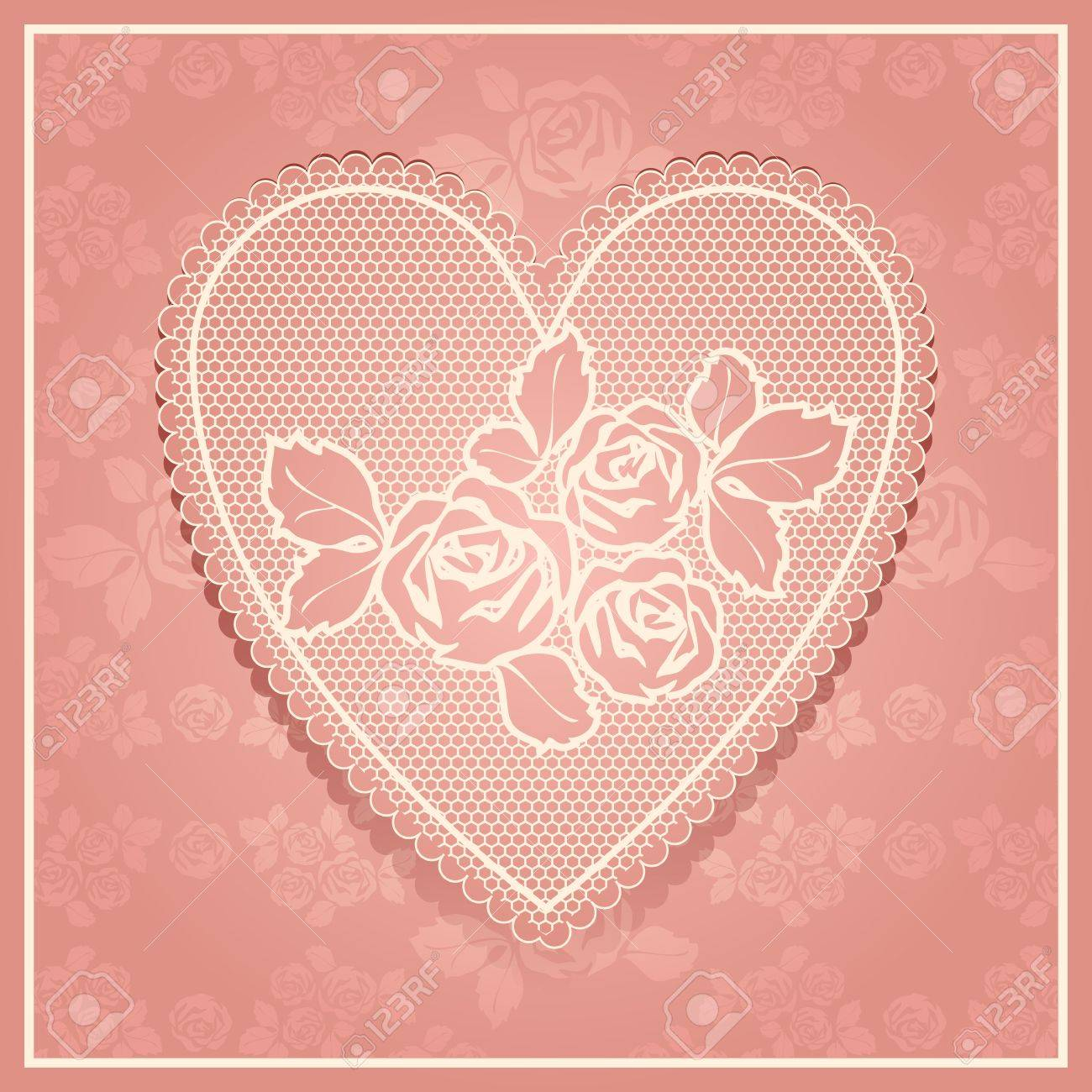 Pink lace in heart shape Stock Vector - 17696719