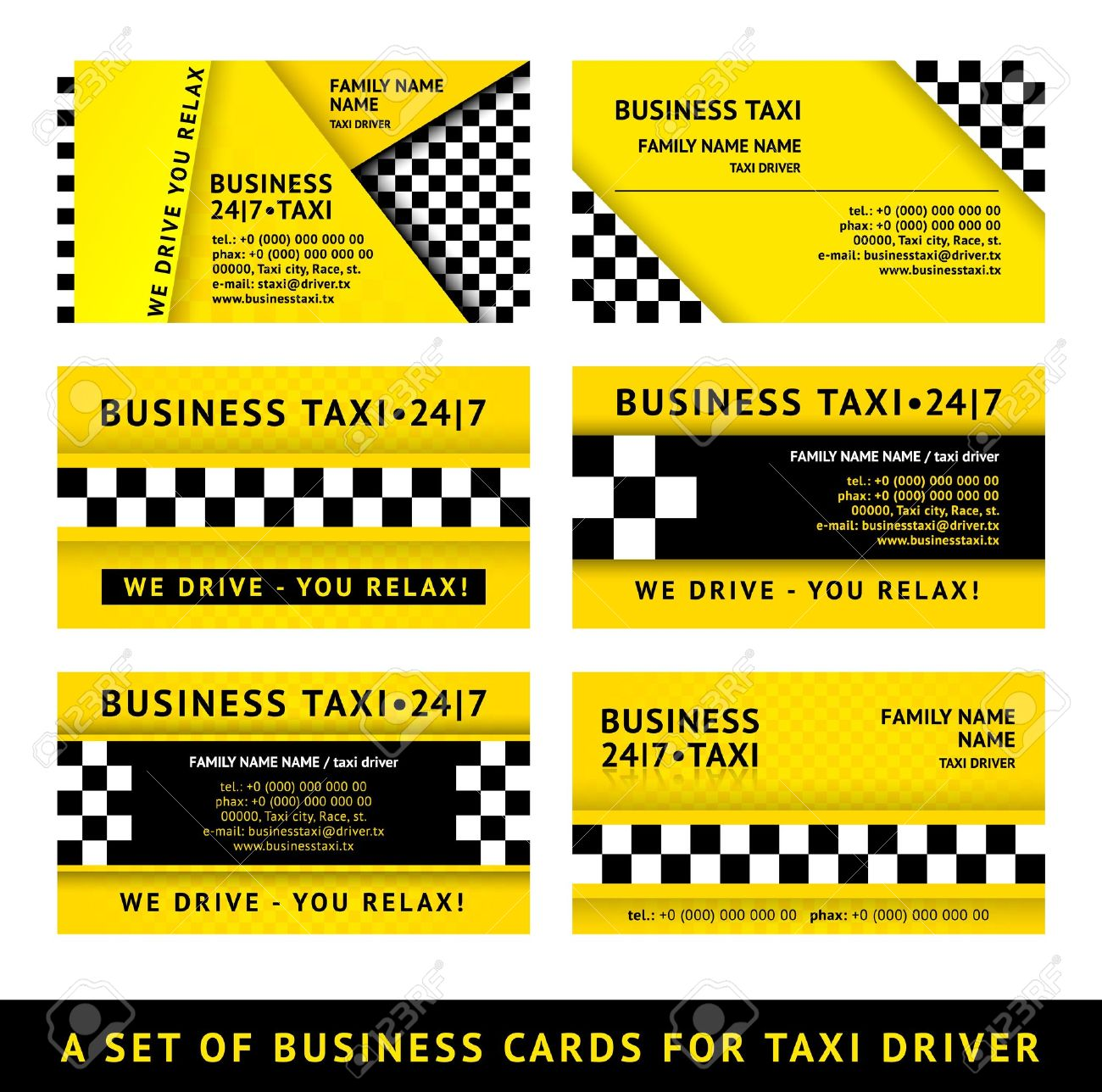 Business Card Taxi - Tenth Set Royalty Free Cliparts, Vectors, And ...