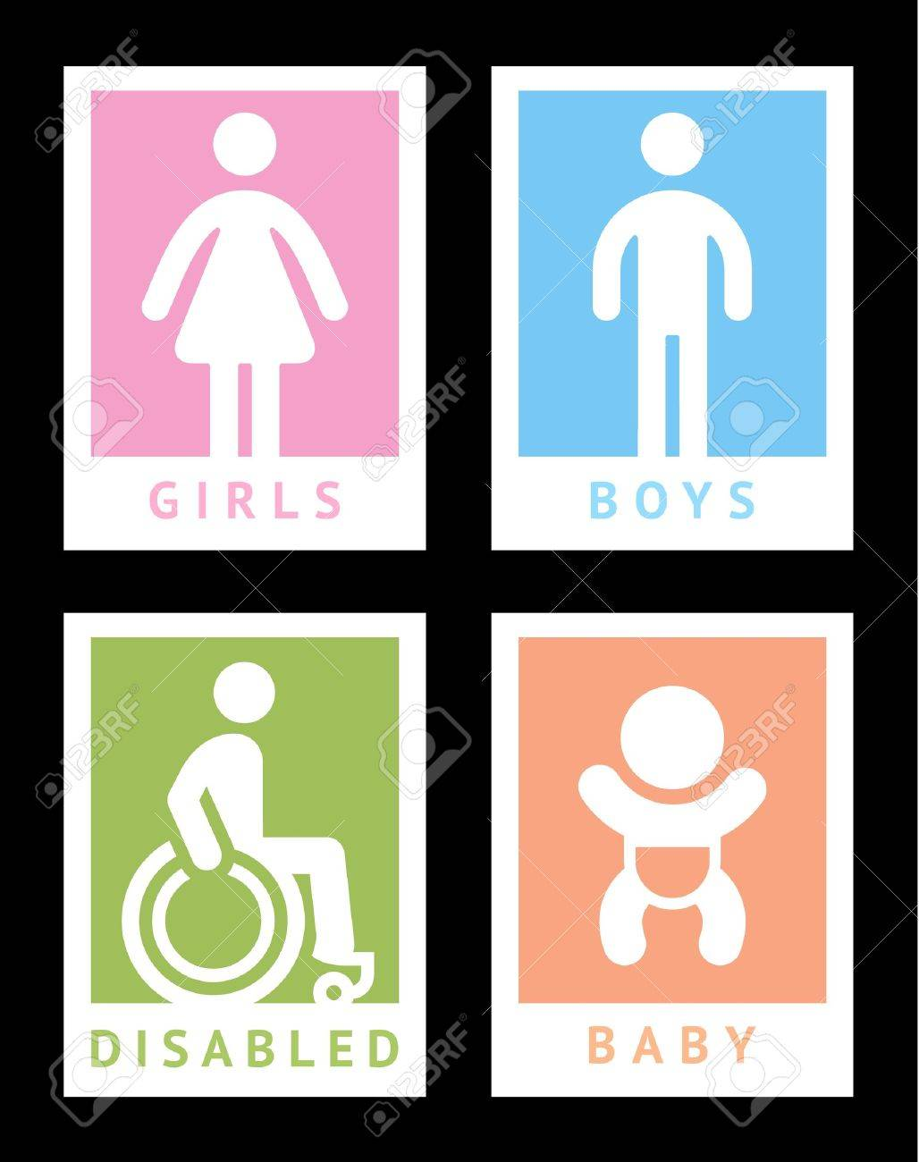 Toilet colored stickers Stock Vector - 18548726
