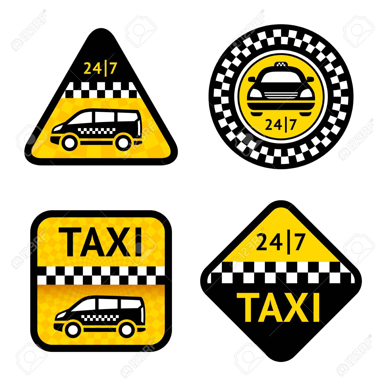 Taxi - set four labels Stock Vector - 18598216